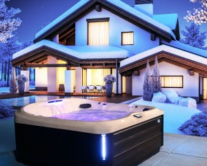 Outdoor hot tub in the winter.
